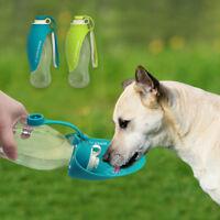 Portable Travel Pet Dog Cat Water Bottle Drinking Bowl Dispenser Feeder Green