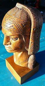 Inca Warrior Wood Sculpture Art by A Saravia Peru Peruvian