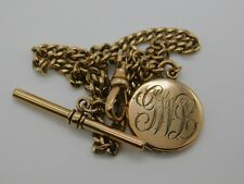 Victorian/vintage Gold Filled Pocket Watch Chain w/Locket Fob Scrap/Use 23g H62
