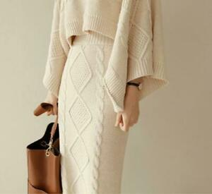 Women's Sexy Knit Batwing Long Hip Package Set Top Dress Sweater Suit 2 Piece