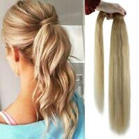 Full Shine Remy 100% Human Hair Extensions with Ponytail Color 27/613