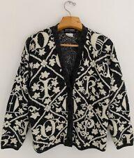 Vintage Kitty Hawk Women Cardigan Sweater Sz S Gray Ivory Pattern Pearlized Bead