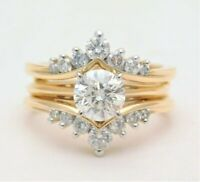3.75 Ct Round Diamond Solitaire Enhancer Engagement Wrap Ring 14K Yellow Gold