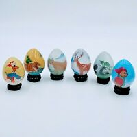VTG Chinese Reverse Painted Animals Lot of 6 Handblown Glass Egg. Stands & Boxes