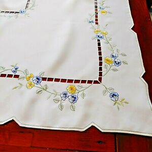 "Vtg Blue Yellow Pansy Floral Embroidered Tablecloth 34x32"" Cutout Trim Polyester"