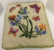 Vintage Pillow Cover Needlepoint Large Butterflies Flowers Velvet- No Pillow Inc