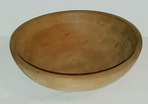 """VINTAGE PRIMITIVE STYLE WOODEN MIIXNG CHOPPING BOWL HAND TURNED? SOLID WOOD 10"""""""