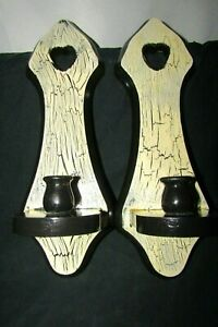 Primitive Crackle Painted Black&White Wall Hanging Wood Candle Holders Pair