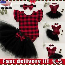 Newborn Baby Kid Girls Plaid Romper Tops + Tutu Skirts Dress Outfits Clothes Set