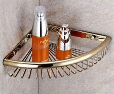 Gold Color Brass Bathroom Corner Shower Basket Shelves Caddy Storage fba099
