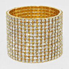 Rhinestone Bracelet 13 Row Wide Stretch Bangle Crystal Pave Wedding Bride GOLD