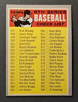 1970 Topps #542 6th Series Baseball Check List EX Unmarked