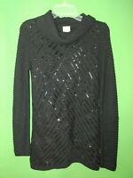 2937) CHICO'S 0 black metallic pullover cowl neck sweater cotton long sleeve 0