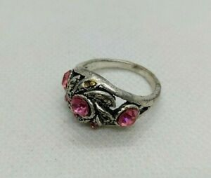 ANCIENT RARE COLOR SILVER RING OLD WITH PINK STONES ARTIFACT AUTHENTIC STUNNING