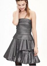 Banana Republic BR Monogram Metallic Strapless Party Dress Smoke Gray NEW 10