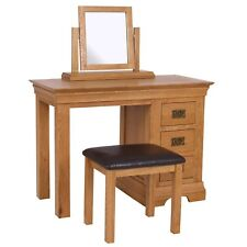 Oak Dressing Table 3 Drawer Solid Wood Rustic Bedroom Vanity Office Desk