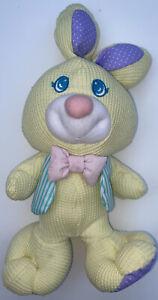 Fisher Price Cozies Yellow Thermal Bunny Stripe Vest Purple Ears Ears Plush 1997