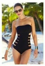 NWT Kenneth Cole Bandeau Splice Mio Black Cut Out Swim Bathing Suit