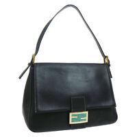 FENDI Mamma Baguette Hand Bag Purse Black Leather  2321-26325-018 39892