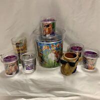 Vintage Smokin Camel Joe Cigerette Plastic Tumbler Cups Ice Bucket Set Of 8 USA