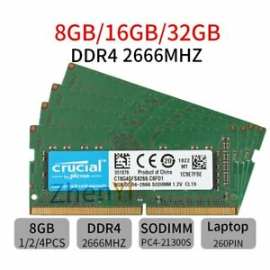 32GB 16GB 8GB DDR4 2666MHz PC4-21300 260Pin SODIMM Laptop Memory For Crucial LOT