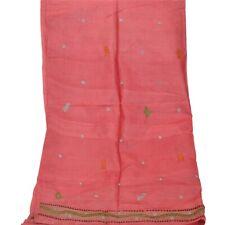 Tcw Vintage Dupatta Long Stole 100% Pure Silk Pink Hijab Hand Beaded Wrap Scarve