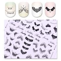 3D Nail Stickers Tattoos Decals Xmas Unicorn Necklace Dreamcatcher Manicure DIY