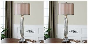 "PAIR 37"" BRUSHED NICKEL MERCURY GLASS TABLE LAMP SILKEN SHADE CRYSTAL DETAIL"