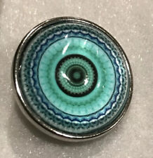 Mandala Teal Snap Charm Fit 18-20mm Gingersnaps Jewelry snap button Fast Ship