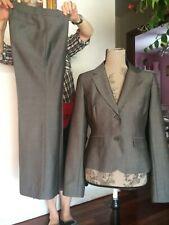 ANN TAYLOR LOFT Women Gray Pant Suit Fine Lines Jacket sz 4 Pants Sz 2 Excellent