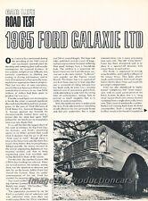 1965 Ford Galaxie LTD Original Car Review Report Print Article J794