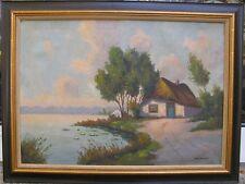 Manders Leo Gemälde Haus am See / Wasser Landschaft 1.Hälfte 20. Jh.