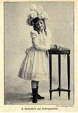 Historische Kinder- Mode der Kaiserzeit Kleid aus Seidenpopeline mit Hut 1900