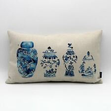 30*50cm Chinese Blue And White Porcelain Vase China Linen Waist Cushion Cover