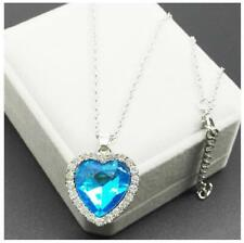 Women Silver Heart  Ocean Sapphire Blue Crystal Necklace Pendant Jewelry Titanic