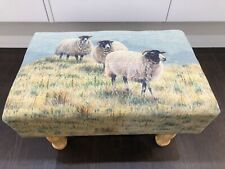 NEW SHEEP PRINTED LINEN FOOTSTOOL COUNTRYSIDE FARMHOUSE RUSTIC STOOL