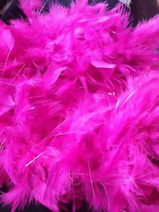 120cm Fuchsia Bright Pink Feather Boa Dressing Up Costume Girls Party Accessory
