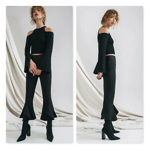 C/MEO COLLECTIVE | Womens Black Knit Emerge Top [ Size XXS or 6 / US 2 ]
