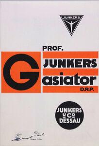 """Reprint der Werbebroschüre  """"Prof. Junkers Gasiator"""" / Hugo Junkers Dessau"""