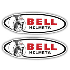 2X BELL HELMETS stickers motorcycle scooter retro 100mm x 35mm