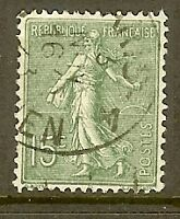 "FRANCE TIMBRE STAMP N°130 ""TYPE SEMEUSE LIGNEE DE ROTY, 15 C VERT GRIS""OBLITE TB"