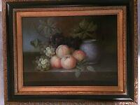 Still Life Fruit Painting in Ornate Golden Frame