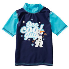DISNEY FROZEN OLAF ONE COOL GUY CHILDREN'S SWIMMING RASH VEST SIZE 7 NEW