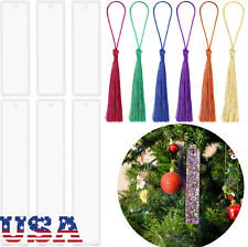 6PCS Rectangle Bookmark Mold Silicone Resin Mould with Tassels for DIY Jewelry