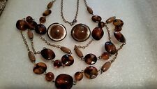 VINTAGE LOT,AMBER COLOR CHAIN LINK NECKLACE 38'' DOME CLIP EARRINGS GOLD PLATE