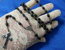 "VINTAGE Italy Jet crucifix cross 26"" necklace dangle 5"", test positive"