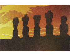 Easter Island Moai statues at sunset- fine art watercolor print. Art for house