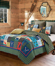 LAKE and LODGE 2pc Twin QUILT SET : CABIN COUNTRY MOUNTAIN BEAR DEER FISH