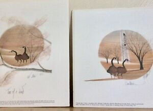 1990's Set Of 2 P Buckley Moss Canada Geese offset lithographs 10.5x10.5