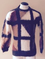 Vintage NOS MOHAIR Abstract Knit Jumper Tunic Sweater NEW S-M